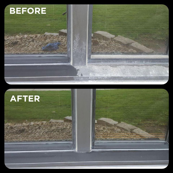 residential window cleaning before and after of window sill
