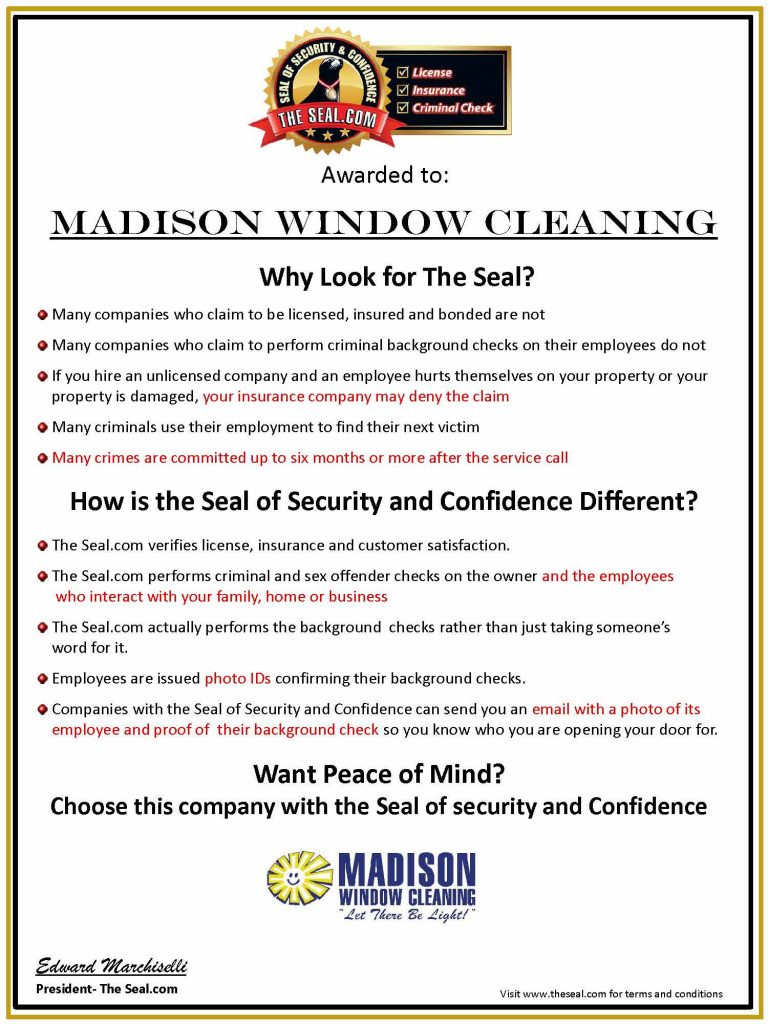 Seal of Approval Certificate for Madison Window Cleaning Co. Inc.